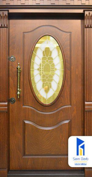 درب ضد سرقت شیشه خور طرح بیضی SD114